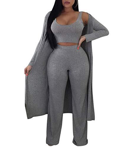 Katblink Women's Fall Ribbed High Waist Pant Bodycon Evening 3 Piece Set Grey M ()