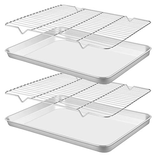 Rayze Baking Sheet Pan [2 Sheets + 2 Racks], Heavy Duty Warp Resistant Stainless Steel Cookie Sheet Baking Pan Tray with…