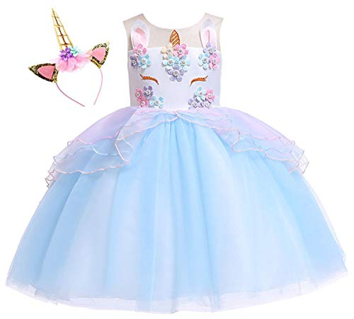 Kokowaii Fancy Girls Dress up for Unicorn Party Flower Dress