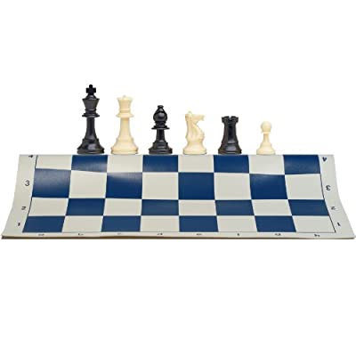 Best Value Tournament Chess Set with Solid Plastic Pieces and Blue Roll-Up Vinyl Chess Board