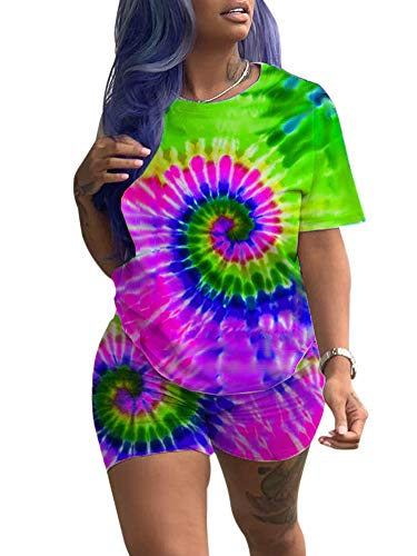 (Women Plus Size 2 Piece Shorts Set Rainbow Spiral Streak T-Shirt High Waist Legging Shorts Sweatsuit Green XXL)