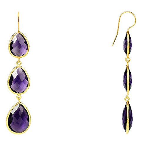 Gold Triple Drop Earring Amethyst