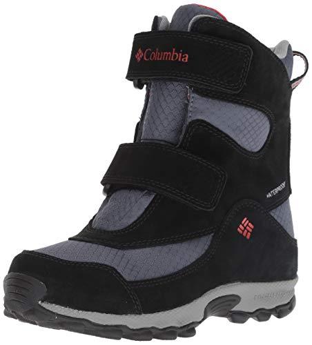 - Columbia Boys' Youth Parkers Peak Velcro Waterproof Winter Boot Snow, Graphite, Bright red, 4 Regular US Big Kid