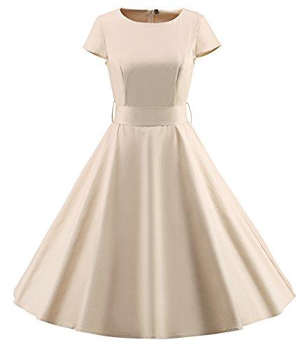 Tecrio Women Retro 50s 60s Solid and Polka Dots Elegant Swing Dress Cap shoulder S - 60s Inspired Fashion