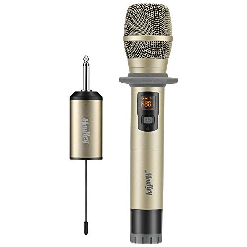 - Moukey UHF Handheld Wireless Microphone Mic with Mini Portable Receiver for Business Meeting Karaoke Church