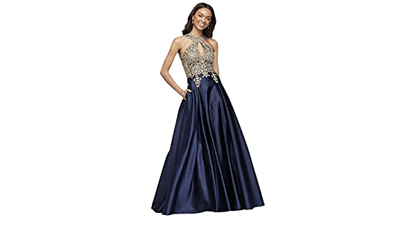 07cee2a837 David s Bridal Metallic Lace and Satin Round Neck Prom Dress Style 2023X at Amazon  Women s Clothing store