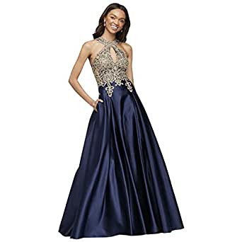 David's Bridal Metallic Lace and Satin Round Neck Prom
