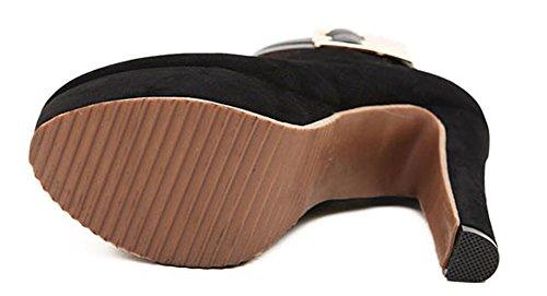 High Zipper Chunky Trendy Women's Aisun Heels Buckles Booties Black pqxIfxwvtn