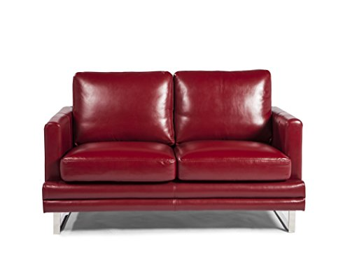Lazzaro Leather Melbourne Collection WH-1003-20-3375 Berry Red Leather Loveseat