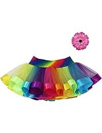 Baby Girls colorful Layered Dance Outdoor Rainbow Tutu Skirt