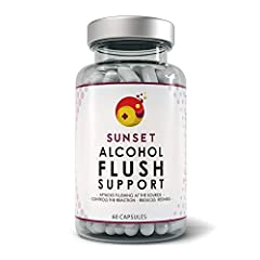 Sunset Alcohol Flush Support is a carefully balanced formulation of 12 active compounds that work in synergy to help reduce symptoms of alcohol flush reaction (i.e. Asian flush / ALDH2 Deficiency). 3 capsules taken 20 minutes before consuming...