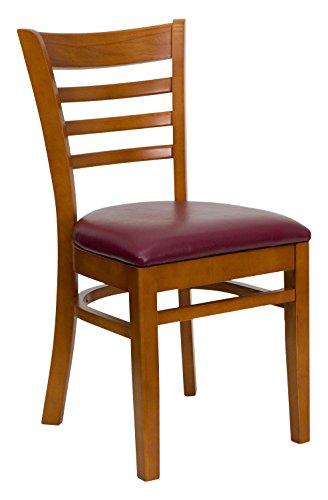 Flash Furniture 2 Pk. HERCULES Series Ladder Back Cherry Wood Restaurant Chair - Burgundy Vinyl - Chair Two Cherry Seat