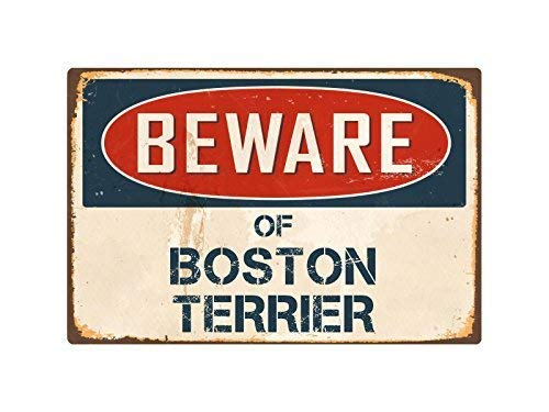 Lilyanaen New Metal Sign Aluminum Sign Beware of Boston Terrier Vintage Retro for Outdoor & Indoor 12