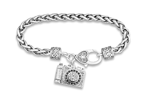 PHOTOGRAPHER'S CAMERA Charm Bracelet is Embellished with Clear Crystal Rhinestones with Larger Faceted Crystal Lens.Heart Lobster Clasp. - Paparazzi Lens