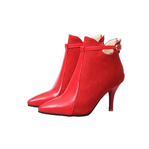 Femme Talon À Rouge Zip D'orteil gmbxb116032 Haut Matière Mélangee Bottes Agoolar Fermeture fwaZSq11