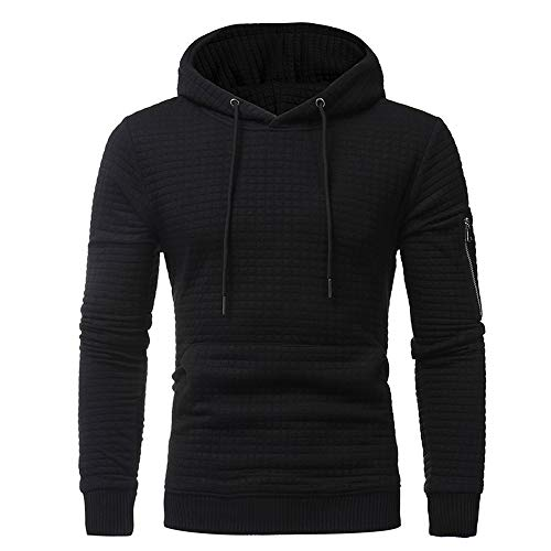 Dressin_Men's Clothes Fashion Mens' Solid Plaid Hoodie Sweatshirt Tops Jacket Coat Outwear Long Sleeve -