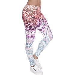 Ndoobiy Women's Printed Leggings Full-Length Regular Size Yoga Workout Leggings Pants Soft Capri L1(Color Shape OS)