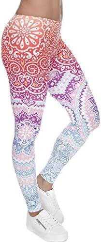 Ndoobiy Digital Printed Women's Full-Length Yoga Workout Leggings Thin Capris Pants L1