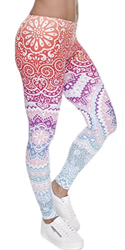 Ndoobiy Womens Printed Leggings Full-Length Regular Size Yoga Workout Leggings Pants Soft Capri L1(Color Shape OS)