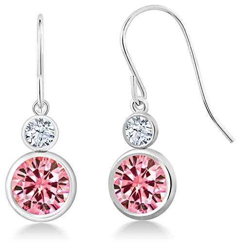 (925 Sterling Silver Dangle Earrings Round Pink Created Moissanite and Created Sapphire White 3.80ct (DEW))