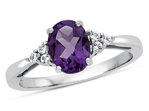 (Finejewelers 10k White Gold 8x6mm Oval Amethyst and White Topaz Ring Size 8)