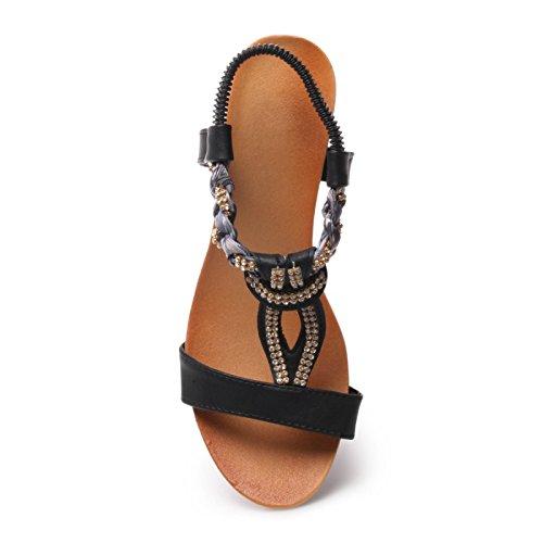 La Modeuse-Sandalias de cuña para mujer Negro - negro