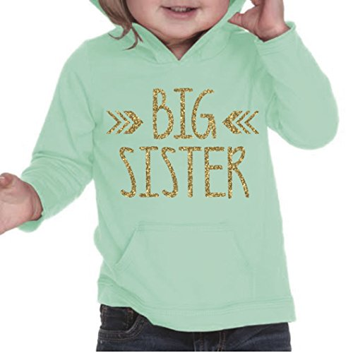 Price comparison product image Big Sister Shirt, Baby Girl Clothes, Pregnancy Announcement (12 Months, Ice Green)