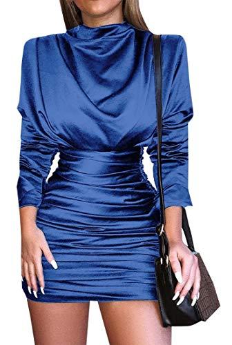 ouxiuli Womens Vintage Slim Fit Pleated High Waist Bodycon Mini Dress Blue S