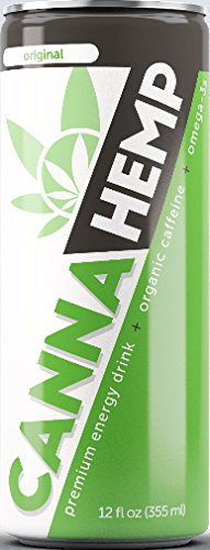 Canna Hemp Energy Drink – Original – 12 Pack – Organic Energy – Omega-3s – All Natural Flavors, Colors and Sweeteners – 50 mg of REAL Hemp Seed oil – Vegan & Gluten Free – Damn Tasty!!