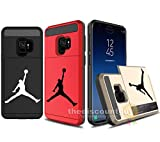 Samsung Galaxy S9+ Plus - Dual-Layered Credit Card ID Storage Basketball Case Michael Jordan Money Cash Slide Wallet Jumpman Air Lebron Gold Best 360 Protective Cover (Black & Red)