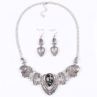 Qiyun (TM) Chunky Tibet Silver Tribal Heart Love Pendant Bib Choker Necklace Earrings Set