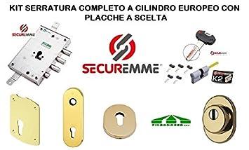 Kit Cerradura Puerta Blindada completo a Cilindro europeo securemme para Mottura 3 pasadores con placa a elegir: Amazon.es: Bricolaje y herramientas