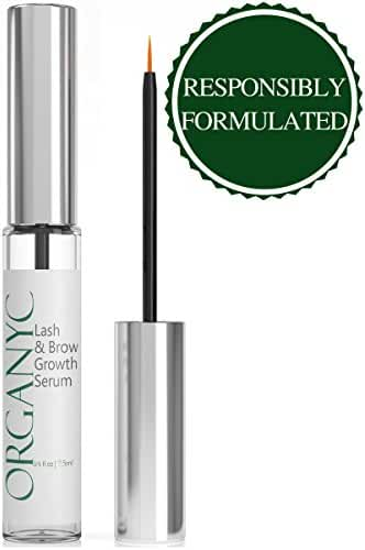 Organyc Eyelash & Eyebrow Growth Serum (High Potency) Grows Longer, Fuller, Thicker Lashes & Brows in 60 days! Enhancing Conditioner Treatment Boosts Regrowth Prevents Thinning Breakage and Fall Out
