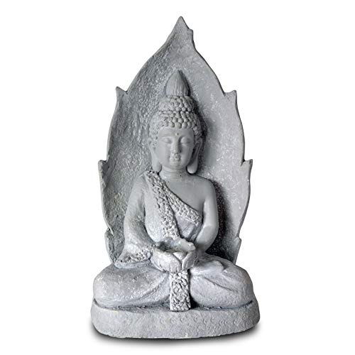 (WHW Whole House Worlds Urban Zen Buddha Statue, Rustic Gray, Candle Holder Artisan Cast Magnesia, Shabby Stone Finish, Tonal Pale Patina, Over 1 1/2 Ft Tall (20)
