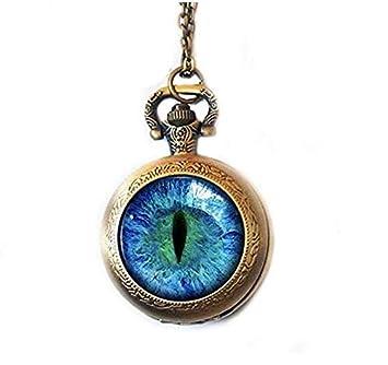 Reloj de bolsillo con diseño de ojo de gato, regalo para amantes de los gatos