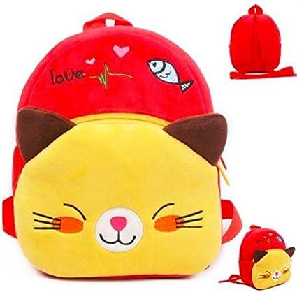 Pandora Velvet Kids School/Nursery/Picnic/Carry/Travelling Bag - 2 to 5 Age (Red Cat)