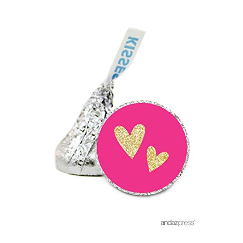 Andaz Press Chocolate Drop Labels Stickers Single, Wedding, Double Hearts Fuchsia and Gold Glitter, 216-Pack, For Hershey's Kisses Valentine's Day Party Favors, Envelope Seals, Gifts, - Seal Hearts Personalized Double