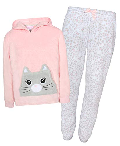 Rene Rofe Girl's 2-Piece Coral Fleece Character Pajama Pant Set with Hoodie (Cat, 14/16)'