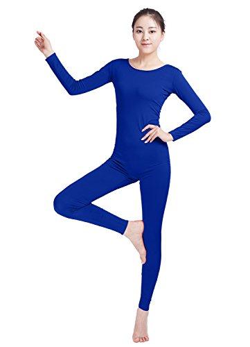 90's Wrestlers Costumes (Ensnovo Womens Spandex Bodysuit Long Sleeve Scoop Neckline Footless Unitard Royal Blue,XL)