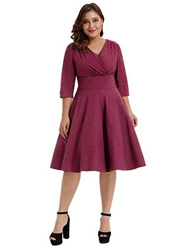 Hanna Nikole Women's V-Neck 3/4 Vintage Tea Dress Wine Red Size 3X by Hanna Nikole
