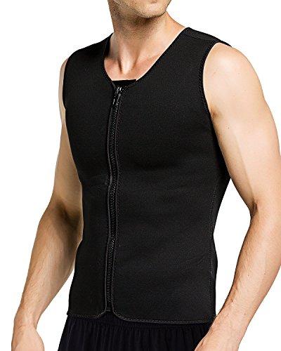 1818c4b867 Roseate Men s Body Shaper Hot Sweat Workout Tank Top Zip Slimming Neoprene Weight  Loss Vest Tummy