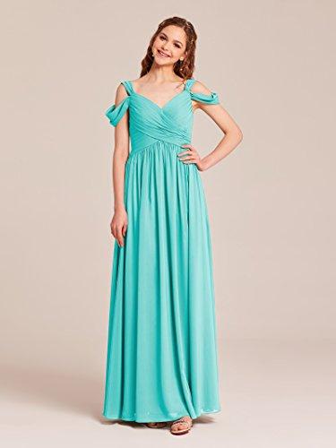 Aqua Women Dress Chiffon Formal Dress for Evening Party Neck V blue Long Bridesmaid Prom Alicepub pYO1Z1