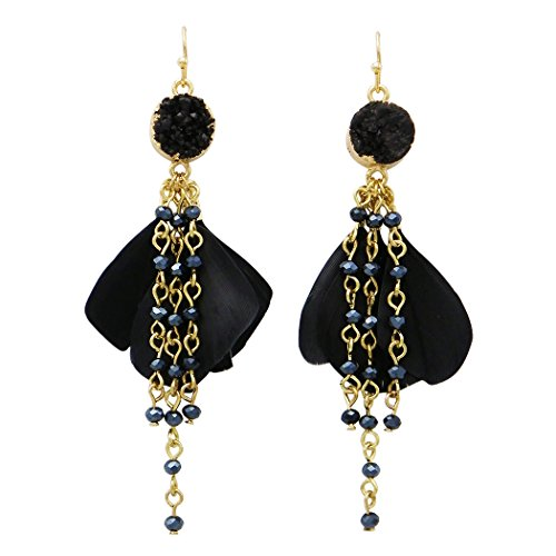 Rosemarie Collections Womens Natural Druzy Stone Feather Fringe Earrings  Jet Black