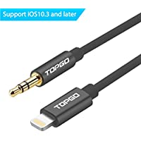 TOPGO  3.5mm Male to Male Aux Stereo Audio Lightning Cable, 3 Feet (1 Meter) - Black