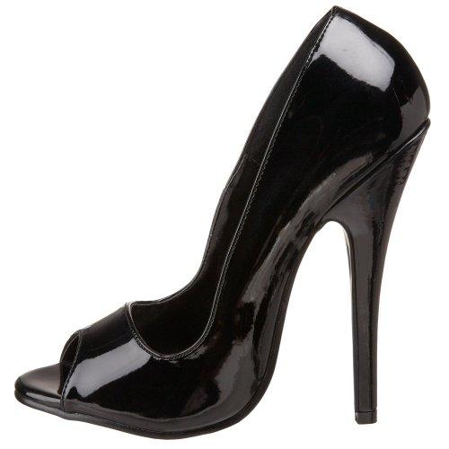 Séduisante Domina-212 Femmes 6 Stiletto Peep Toe Pompe Sandale Robe De Bureau Chaussure Noir Brevet