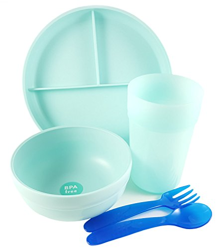 Kids-5-Piece-Dinnerware-Set-Round-Divided-Plate-Bowl-Cup-and-2-Utensils-Spoon-Fork-Dishwasher-Microwave-and-BPA-safe-For-baby-toddler-and-older-kids-Pillowfort