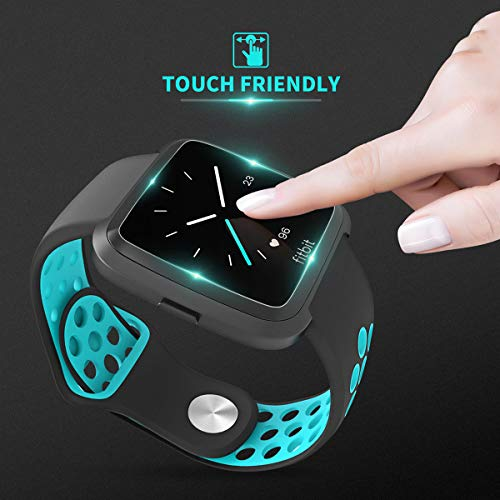Fitbit-Versa-Screen-Protector-KAERSI-Screen-Protector-for-Fitbit-Versa-Smartwatch-9H-HardnessCrystal-ClearScratch-ResistNo-BubbleWaterproof-Versa-Tempered-Glass-Screen-Protector