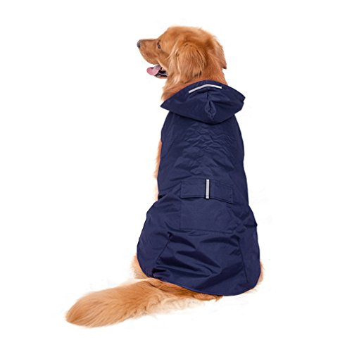LLOVELY Reflective Pet Clothes Rainwear Dog Raincoat Super Waterproof Hooded Rain Jacket as picture (D-ring Dog Raincoat)