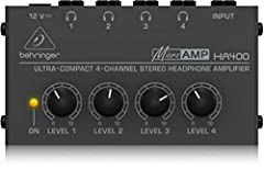 BEHRINGER POWERPLAY HA4000 Ultra-Compact 4-Channel Stereo Headphone Amplifier Ultra-compact headphone amplifier system for studio and stage applications 4 independent stereo high-power amplifier sections Highest audio quality with virtually ...
