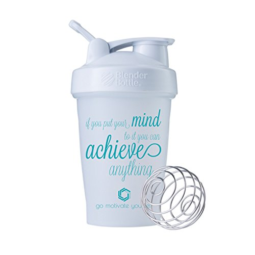 GOMOYO Motivational Quotes on Performa Perfect Shaker Bottle, 20 Ounce Classic Protein Shaker Bottle, Dishwasher Safe, Leak Proof, Multiple Sayings and Colors (Achieve - White - 20)